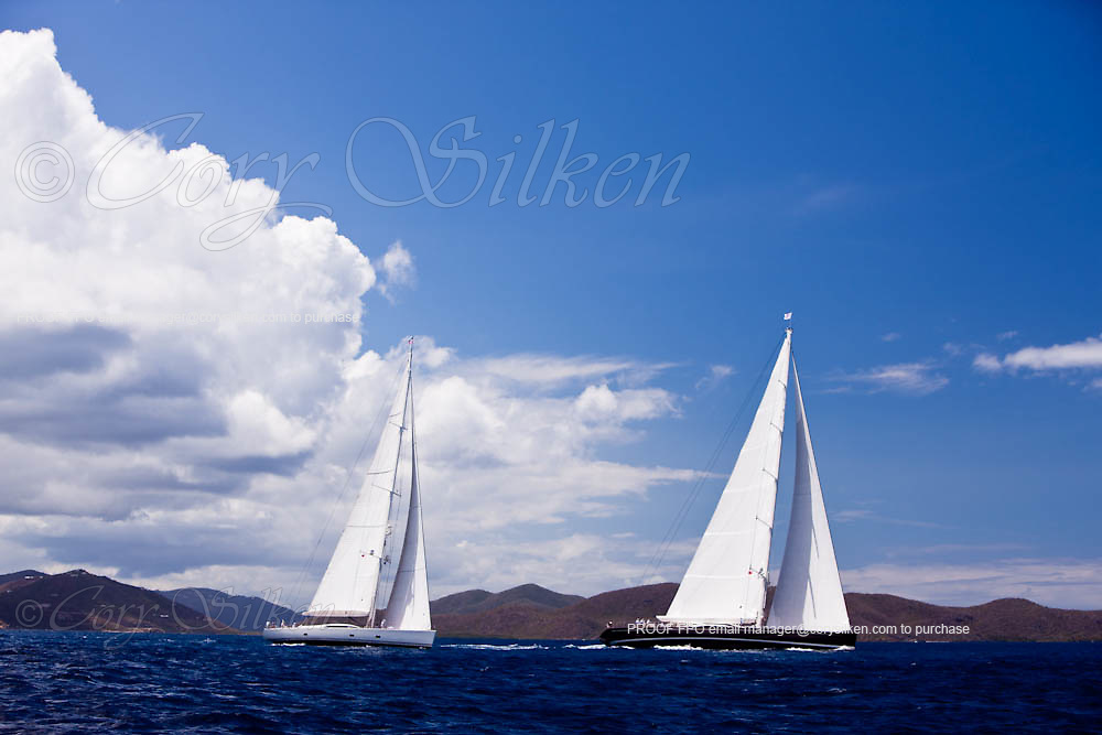 Lady B and Zefiro sailing in the Caribbean Superyacht Regatta and Rendezvous, race 1.