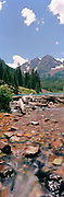 Panoramic view of the Maroon Bells, White River National Forest, near Aspen, Colorado, USA; August 2010