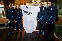 Jasmin Kurtic, Dejan Kelhar, Dzengis Cavusevic and Armin Bacinovic with Team Ghost  after the football match between National teams of Slovenia and Cyprus in 3rd Round of Group E of FIFA World Cup 2014 Qualification on October 12, 2012 in Stadium Ljudski vrt, Maribor, Slovenia. Slovenia defeated Cyprus 2-1. (Photo By Vid Ponikvar / Sportida)