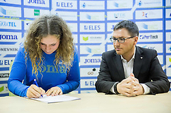 Barbara Spiler and Roman Dobnikar during press conference when Slovenian athletes and their coaches sign contracts with Athletic federation of Slovenia for year 2016, on February 25, 2016 in AZS, Ljubljana, Slovenia. Photo by Vid Ponikvar / Sportida