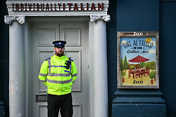 © Licensed to London News Pictures. 06/03/2018. Salisbury, UK. The scene at Zizzi Restaurant in Salisbury, Wiltshire which is currently closed after former Russian spy Sergei Skripal and a woman in her 30s were taken ill with suspected poisoning. The couple where found unconscious on bench in Salisbury shopping centre. Specialist units have been called in to deal with any possible contamination. Photo credit: Ben Cawthra/LNP