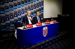 October 8, 2017 - Oslo, NORWAY - 171008 Lars LagerbÅck, head coach of Norway, and Svein Graff, Communications director of the Norwegian Football Association (NFF), during press conference after the FIFA World Cup Qualifier match between Norway and Northern Ireland on October 8, 2017 in Oslo..Photo: Fredrik Varfjell / BILDBYRN / kod FV / 150028 (Credit Image: © Fredrik Varfjell/Bildbyran via ZUMA Wire)
