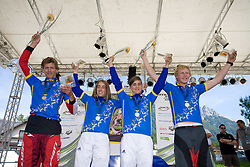 Winners Nick Beer (SUI), Floriane Pugin (FRA), Fanny Lombard (FRA) and Bernard Kerr (GBR) at MTB Downhill European Championships, on June 14, 2009, at Kranjska Gora, Slovenia. (Photo by Vid Ponikvar / Sportida)