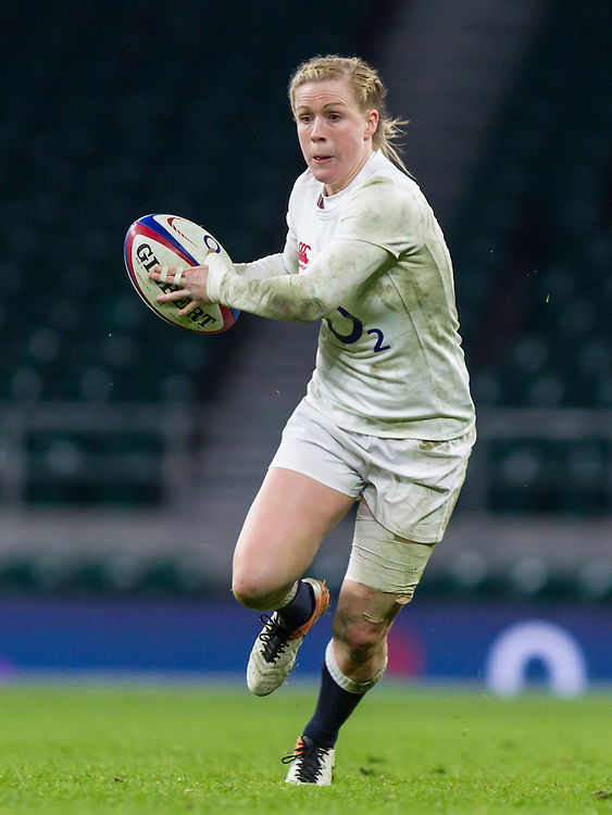 Danielle Waterman in action, England Women v France Women in a 6 Nations match at Twickenham Stadium, London, England, on 4th February 2017 Final Score 26-13.