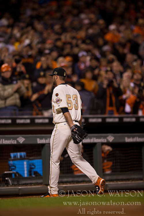SAN FRANCISCO, CA - APRIL 18:  Chris Heston #53 of the San Francisco Giants returns to the dugout after being relieved during the eighth inning against the Arizona Diamondbacks at AT&T Park on April 18, 2015 in San Francisco, California.  The San Francisco Giants defeated the Arizona Diamondbacks 4-1. (Photo by Jason O. Watson/Getty Images) *** Local Caption *** Chris Heston
