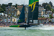 SailGP Team Australia helmed by Tom Slingsby wins Race three. Race Day. Event 4 Season 1 SailGP event in Cowes, Isle of Wight, England, United Kingdom. 11 August 2019: Photo Chris Cameron for SailGP. Handout image supplied by SailGP