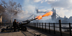 February 6, 2018 - London, London, UK - London, UK. A 62 gun salute is fired at the Tower of London in front of Tower Bridge, by the Honourable Artillery Company to celebrate the 66th anniversary of HM The Queen's accession to the throne. (Credit Image: © Vickie Flores/London News Pictures via ZUMA Wire)