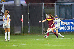 04 November 2016: Avalon Senn-Raemont & Samantha Brown  during an NCAA Missouri Valley Conference (MVC) Championship series women's semi-final soccer game between the Loyola Ramblers and the Evansville Purple Aces on Adelaide Street Field in Normal IL