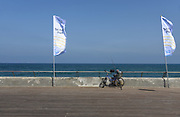Bicycle and fishing rod at the old Tel Aviv port, Israel