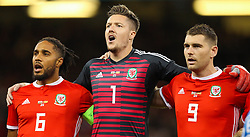 October 11, 2018 - Cardiff City, Walles, United Kingdom - Cardiff, Wales October 11, ..Wayne Hennessey of Wales (C) during Exhibition Match between Wales and Spain at Principality stadium, Cardiff City, on 11 Oct  2018. (Credit Image: © Action Foto Sport/NurPhoto via ZUMA Press)