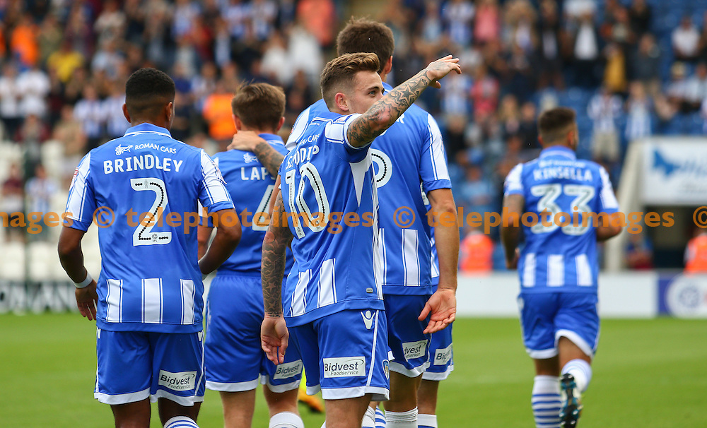 Sammie Szmodics of Colchester United celebrates scoring during the Sky Bet League 2 match between Colchester United and Exeter City at the Weston Homes Community Stadium in Colchester. September 3, 2016.<br /> Arron Gent / Telephoto Images<br /> +44 7967 642437