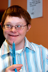 Young man with Downs Syndrome UK