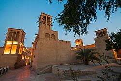 View of old buildings and wind towers at original historic Al Fahidi district , al Bastakiya , in Dubai, United Arab Emirates