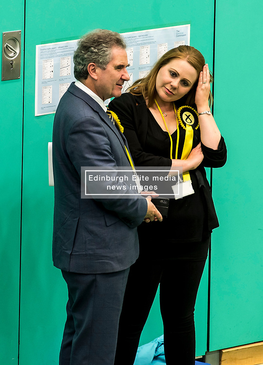 A nervous SNP candidate for Kirkcaldy & Cowdenbeath William Mullin talks with one of his activists.<br /> <br /> © Dave Johnston/ EEm