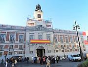 Architectural building wrap screening rebuilding work, Real Casa de Correos, Plaza de la Puerta del Sol, Madrid, Spain