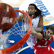 Olympiacos's Stratos Perperoglou (R) during their Turkish Airlines Euroleague Basketball Top 16 Game 9 match Besiktas between Olympiacos Piraeus at Abdi ipekci Arena in Istanbul, Turkey, thursday, February 28, 2013. Photo by Aykut AKICI/TURKPIX