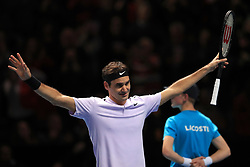Roger Federer celebrates his win against Marin Cilic during day five of the NITTO ATP World Tour Finals at the O2 Arena, London.