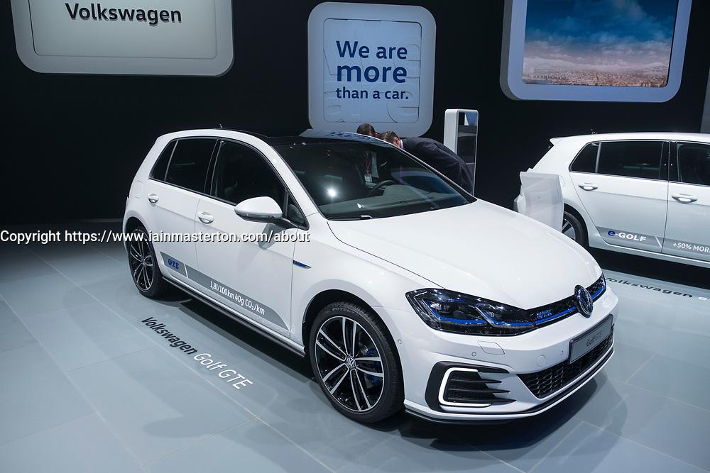 Volkswagen Golf GTE plug-in hybrid car at 87th Geneva International Motor Show in Geneva Switzerland 2017