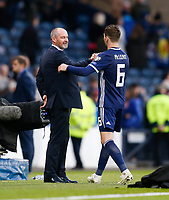 Football - 2018 / 2019 UEFA European Championship Qualifier - Group I: Scotland vs. Cyprus<br /> <br /> Scotland manager Steve Clarke and Kenny McLean of Scotland at full time in the European Championship Qualifying match between Scotland and Cyprus, at Hampden Park, Glasgow.<br /> <br /> COLORSPORT/BRUCE WHITE