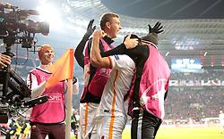 20.10.2015, BayArena, Leverkusen, GER, UEFA CL, Bayer 04 Leverkusen vs AS Roma, Gruppe E, im Bild Torjubel Tor zum 2:4 durch Iago Falque (#14, AS Rom) // during UEFA Champions League group E match between Bayer 04 Leverkusen and AS Roma at the BayArena in Leverkusen, Germany on 2015/10/20. EXPA Pictures © 2015, PhotoCredit: EXPA/ Eibner-Pressefoto/ Deutzmann<br /> <br /> *****ATTENTION - OUT of GER*****