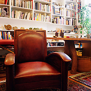 A red leather and wood chair in a room full of oriental carpets on the floor and a large wooden table with what looks like inverted tree trunks for legs in the right middle ground, a massage table in the left background, a wall of bookshelves in the background, a tree in the right rear corner at a window.