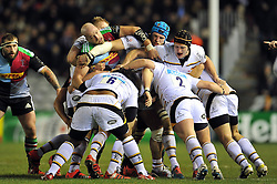 Wasps maul the ball forward - Photo mandatory by-line: Patrick Khachfe/JMP - Mobile: 07966 386802 17/01/2015 - SPORT - RUGBY UNION - London - The Twickenham Stoop - Harlequins v Wasps - European Rugby Champions Cup