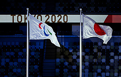 TOKYO, JAPAN - SEPTEMBER 05: Flags of Paralympic games and Japan during the Closing Ceremony of the Tokyo 2020 Paralympic Games at Olympic Stadium on September 5, 2021 in Tokyo, Japan. Photo by Vid Ponikvar / Sportida