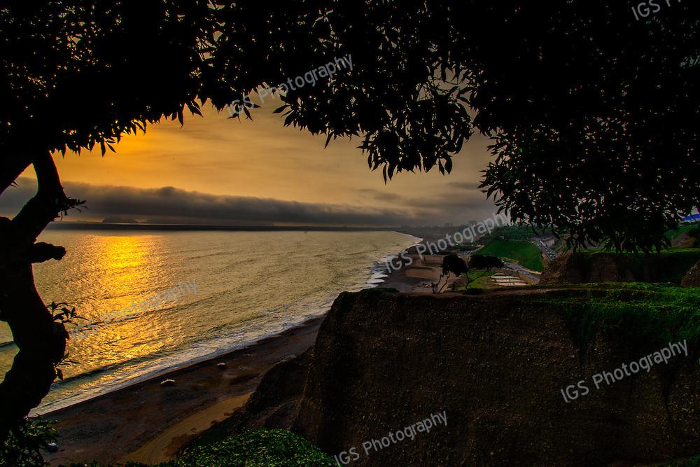 Sunset at Lovers Park, Miraflores, Lima, Peru