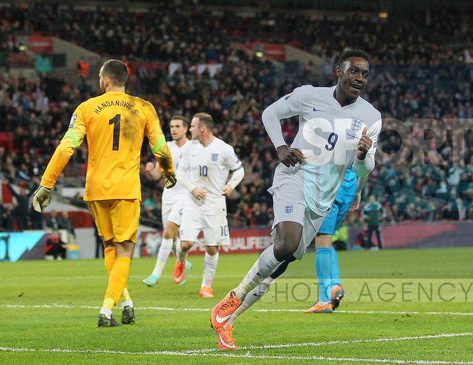 England's Danny Welbeck celebrates scoring his sides third goal<br /> <br /> - International European Qualifier - England vs Slovenia- Wembley Stadium - London - England - 15th November 2014  - Picture David Klein/Sportimage