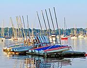 Sailboats on floating dock in Newport Rhode Island