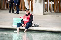 Pictured: Neil Keveren<br /> <br /> Anti-Heathrow third runway campaigner Neil Keveren, 50, arrives outside the Scottish Parliament after walking nearly 400 miles in protest at SNP backing for a third runway at the London airport. Neil walked on average 20 miles a day since 4 April with his support van givimg him a target to aim for each day.  Some of the residents on the flight path for the new runway have been there for over 40 years and many for all of their lives.  Flights arrive every three minutes between 4 and 5 am with the frequency increasing to every 90 seconds after 5am.<br /> Ger Harley | EEm 27 April 2017
