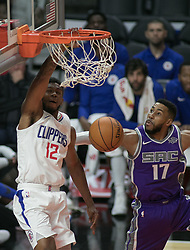October 12, 2017 - Los Angeles, California, U.S - Tyrone Wallace #12 of the Los Angeles Clippers dunks the ball during their preseason game against the Sacramento Kings Thursday October 12, 2017 at the Galen Center in USC in Los Angeles, California. Clippers defeat Kings, 104-87. (Credit Image: © Prensa Internacional via ZUMA Wire)