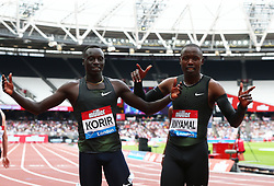 July 22, 2018 - London, United Kingdom - L-R Emmanuel Kipkurui Korir winner of the 800m Men with Wyclife Kinyamal of Kenya .during the Muller Anniversary Games IAAF Diamond League Day Two at The London Stadium on July 22, 2018 in London, England. (Credit Image: © Action Foto Sport/NurPhoto via ZUMA Press)