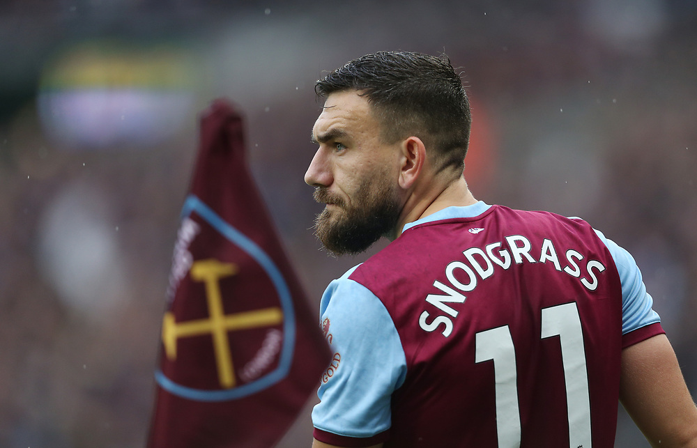 West Ham United's Robert Snodgrass<br /> <br /> Photographer Rob Newell/CameraSport<br /> <br /> The Premier League - Saturday 26th October 2019 - West Ham United v Sheffield United - London Stadium - London<br /> <br /> World Copyright © 2019 CameraSport. All rights reserved. 43 Linden Ave. Countesthorpe. Leicester. England. LE8 5PG - Tel: +44 (0) 116 277 4147 - admin@camerasport.com - www.camerasport.com
