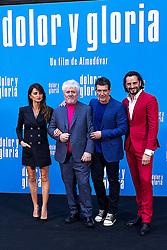 Penelope Cruz, Pedro Almodovar, Antonio Banderas and Asier Etxeandía attend the photocall of the movie 'Dolor y gloria' in Villa Magna Hotel, Madrid 12th March 2019. Photo by Alconada/Alterphotos/ABACAPRESS.COM