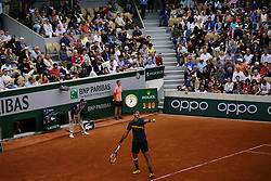 May 30, 2019 - Paris, France - Argentina's Juan Martin DEL P775347905O serves a ball during the men's singles second round of the French Open tennis tournament against Japan's Yoshihito NISHIOKA at Roland Garros in Paris, France on May 30, 2019. (Credit Image: © Ibrahim Ezzat/NurPhoto via ZUMA Press)
