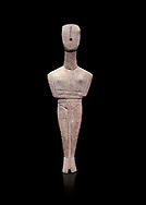 Ancient Greek Cycladic female figurine of the canonical type, Dokathismata and Spedos variety, Early Cycladic period II, Syros phase, 2800-2300 BC, Museum of Cycladic Art, Athens.   Against black<br /> <br /> Considered to be an intermediate or transitional form between the Dokathismata and Spedos varieties/