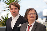 Director Albert Serra and Actor Jean-Pierre Leaud at the La Mort De Louis Xiv film photo call at the 69th Cannes Film Festival Thursday 19th May 2016, Cannes, France. Photography: Doreen Kennedy