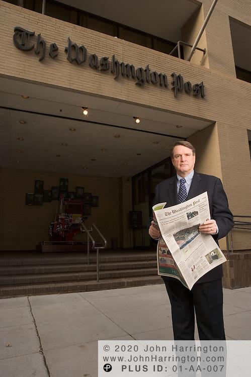 Len Downie Jr., executive editor of the Washington Post, poses for photos on Thursday December 1,  2005.