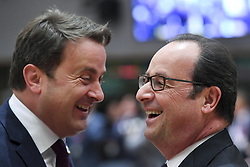 April 29, 2017 - Brussels, BELGIUM - Luxembourg Prime Minister Xavier Bettel and France's President Francois Hollande pictured during an EU summit meeting concerning Brexit, Saturday 29 April 2017, at the European Union headquarters in Brussels. BELGA PHOTO Pool Frederic Sierakowski (Credit Image: © Pool Frederic Sierakowski/Belga via ZUMA Press)