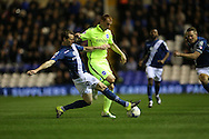 Brighton midfielder Steve Sidwell (36) and Birmingham City defender Jonathan Spector (23) during the Sky Bet Championship match between Birmingham City and Brighton and Hove Albion at St Andrews, Birmingham, England on 5 April 2016.