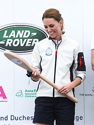 The Duchess of Cambridge wins the wooden spoon for coming last at The King's Cup Regatta, Cowes, Isle of Wight. Photo credit should read: Doug Peters/EMPICS
