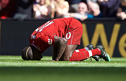 BRITAIN-LIVERPOOL-FOOTBALL-ENGLISH PREMIER LEAGUE-LIVERPOOL VS WOLVERHAMPTON WANDERERS..(190512) -- LIVERPOOL, May 12, 2019  Liverpool's Sadio Mane kneels to pray as he celebrates scoring a goal during the final English Premier League match of the season between Liverpool and Wolverhampton Wanderers at Anfield in Liverpool, Britain on May 12, 2019. Liverpool won 2-0.  FOR EDITORIAL USE ONLY. NOT FOR SALE FOR MARKETING OR ADVERTISING CAMPAIGNS. NO USE WITH UNAUTHORIZED AUDIO, VIDEO, DATA, FIXTURE LISTS, CLUBLEAGUE LOGOS OR ''LIVE'' SERVICES. ONLINE IN-MATCH USE LIMITED TO 45 IMAGES, NO VIDEO EMULATION. NO USE IN BETTING, GAMES OR SINGLE CLUBLEAGUEPLAYER PUBLICATIONS. (Credit Image: © Xinhua via ZUMA Wire)