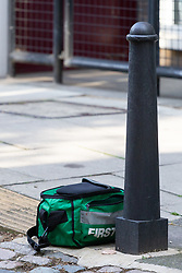 A paramedic's bag is seen at the crime scene at Munster Square in Camden where a 16 year-old teenager was stabbed to death. London, August 13 2019.