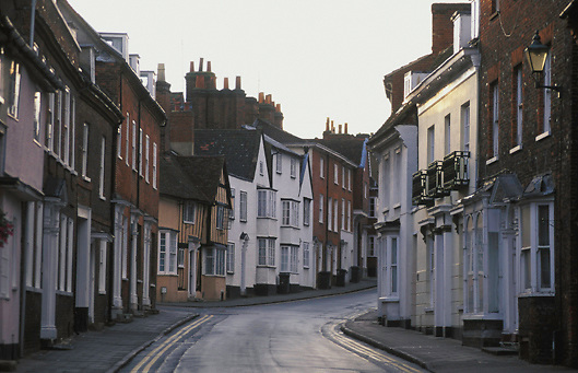 Tilehouse Street in market town of Hitchin in North Hertfordshire, England, UK