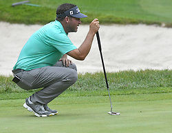 July 15, 2018 - Silvis, Illinois, U.S. - SILVIS, IL - JULY 15:  Jason Bohn lines up his ;putt on the #1 green during the final round of the John Deere Classic on July 15, 2018, at TPC Deere Run, Silvis, IL.  (Photo by Keith Gillett/Icon Sportswire) (Credit Image: © Keith Gillett/Icon SMI via ZUMA Press)