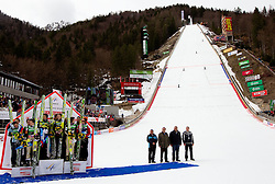 Third placed team of Slovenia: Jernej Damjan, Jurij Tepes, Peter Prevc and Robert Kranjec, winning team of Austria: Andreas Kofler, Gregor Schlierenzauer, Martin Koch and Thomas Morgenstern, second placed team of Norway: Bjoern Einar Romoeren, Tom Hilde,  Johan Remen Evensen and Anders Bardal celebrate at flower ceremony during Flying Hill Team at 3rd day of FIS Ski Jumping World Cup Finals Planica 2011, on March 19, 2011, Planica, Slovenia. (Photo by Vid Ponikvar / Sportida)