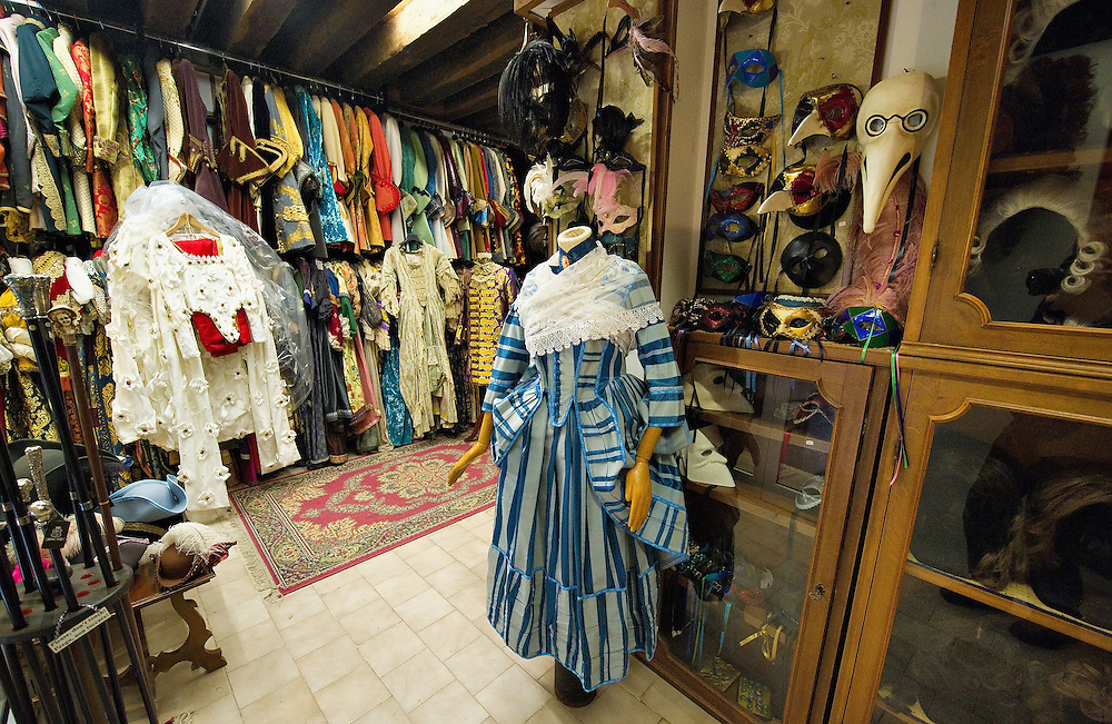 VENICE, ITALY - JANUARY 20:  A general view of the costumes and historical reproduction dresses seen at the historic atelier Pietro Longhi on January 20, 2012 in Venice, Italy. This is one of the busiest periods of the year for the atelier as the next few weeks the streets and canals of Venice will be filled with people attending the carnival,  wearing highly-decorative and imaginative carnival costumes and masks.