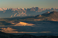 The high jagged crest of the Eastern Sierra Nevada mountains; Mono County; California