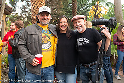 Michael LIchter with Jasmin and Holger Mohr at a gathering at the home of Kim and Jon Borneman after the Arlen Ness Memorial - Celebration of Life. Pleasanton, CA, USA. Saturday, April 27, 2019. Photography ©2019 Michael Lichter.